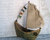 Nautical Sailboat Ornament Mixed Media Assemblage - Air & Wind