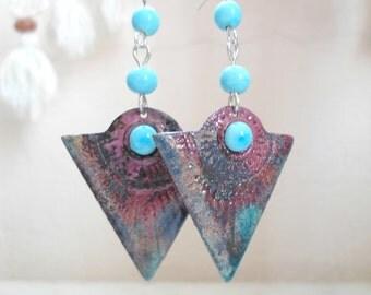 Enamel Earrings, Handmade Lampwork Earrings, Contemporary Handmade Jewelry Gift for Her for Valentine's Day