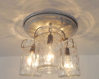 Mason Jar CEILING LIGHT Hanging Pints - Farmhouse Kitchen Flush Mount Lighting Fixture with Vintage Jars by Lamp Goods