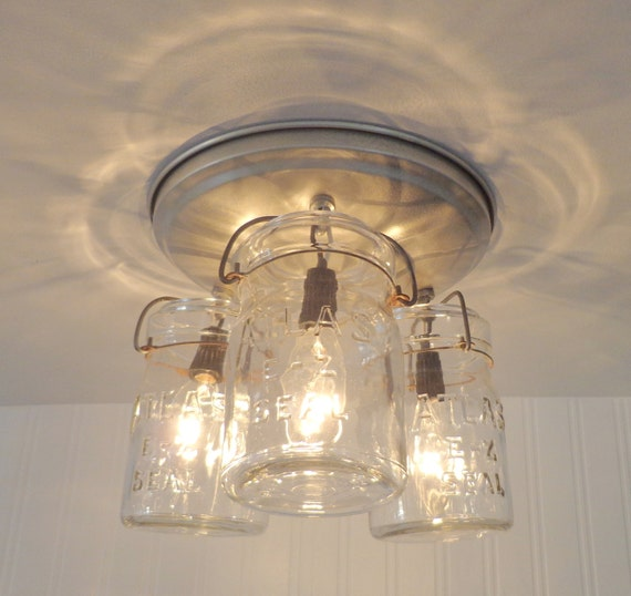 Mason Jar CEILING LIGHT Hanging Pints Farmhouse Kitchen