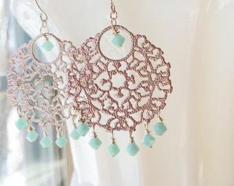 Mint Green Silver Chandelier Bridal Earrings Bollywood Filigree by MinouBazaar
