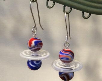 Red, White & Blue Vintage Glass Swirl Beads with Artisan Lampwork Glass Disc Bead Dangle Earrings