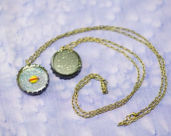Outer Space Bottle Cap Necklace