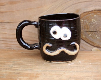 Traditional Mans Mustache Mug. Chocolate Brown Black Coffee Cup. Stoneware Pottery Mug. Funny Ceramic Face Mugs for Him