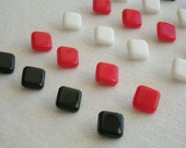 24 really nice square glass buttons - 3 different colors