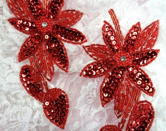 "XR51 Red Sequin Beaded Appliques With Rhinestone Centers Floral Flower Patch 6"" ( XR51X-rd)"
