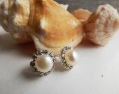 Genuine Pearl Earrings, Culture Pearl Earrings, Fresh Water Pearl, Flower Earrings, Pearl Star Earrings Wedding, Bridal Jewelry, Bridesmaids