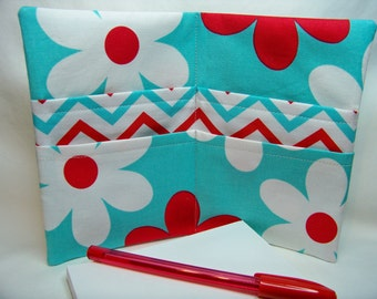 PK Note Tote in Lil' Plain Jane in Aqua - Purse Accessory - Fabric Notebook - Ready To Ship