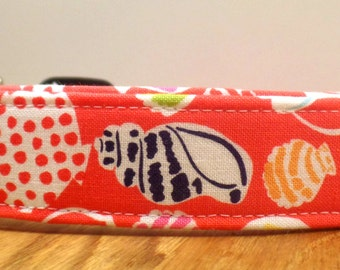 She Sells Sea Shells By The Sea Shore Coral Beach Dog Collar