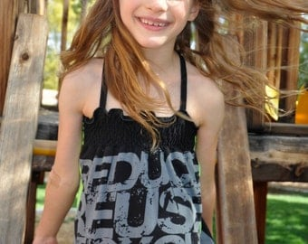 The RENEW RECYCLE REUSE UPCycled T Shirt Dress One Size Fits 2T - 6 Original Design