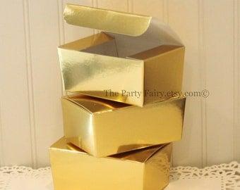 Gold Foil Box, 6 Gold Foil Boxes, 1/4 Lb. Gold Party Favors, Gold Treat Box, DIY Weddings, Gold Gift Box, Candy Box, Metallic Gold Box