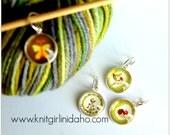 Hedgehog Butterfly Bird Flower Charm Stitch Markers (Set of 4)