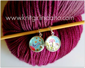 Bird Flowers Spring Charm Stitch Markers (Set of 2)