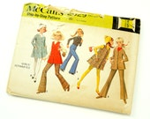 Vintage 1960s Girls Size 10 Mod Separates McCalls Sewing Pattern 2029 Complete / b29 w25 / Bell Bottom Pants, A-Line Jumper, Jacket Vest
