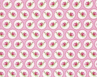 Valentine Rose Fabric by Tanya Whelan 078 Cameo Hearts Lace Doily Roses on Pink