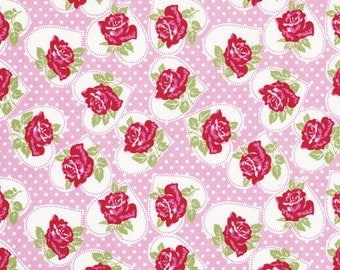 Valentine Rose Fabric by Tanya Whelan 077 Roses Heart Medallions Polka Dots on Pink
