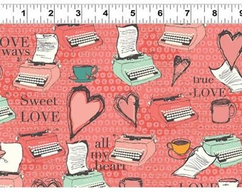 All My Heart Fabric by Clothworks Valentines Day Vintage Typewriter Polka Dot Keys and Hearts on Coral Pink