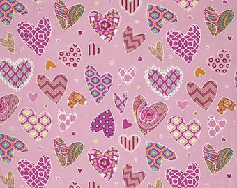 Haute Girls Fabric by Dena Designs Multicolored Multipatterned Hearts on Pink
