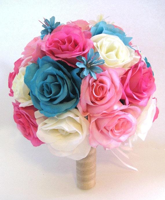 Wedding Silk Flowers Bouquet Bridal HOT PINK TURQUOISE Aqua