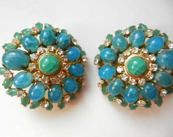 Exclusive & Rare Authentic Christian Dior 1969  Vintage Clip Earrings- lovely sea color stones and dazzling chaton -  Art.190 -