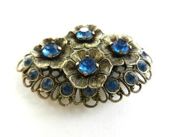 Antique 1940s deep blue Czech Rhinestones Brooch Pin - Dazzling flowers on ancient Victorian  brooch - art.961/2 -