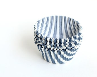 Cupcake Liners - Gray Barber Stripe Baking Cups (45)