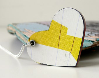 Recycled Skateboard Jewelry Handmade Heart Necklace Pendant-White and Yellow Wooden Reversible