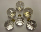SALE Set of 6 Crystal Ball Knobs Pulls 1.5 inch Drawer Pulls