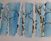 "Original Watercolor Painting- ""Birch Trees"""
