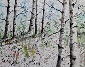 """Original Watercolor Painting- """"Maine Autumn Landscape"""""""