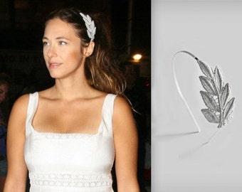 Silver Fabric Olive Leaf, Limited Edition, Silver Headband, Bridal Headband, Grecian wreath, Silver Leaf Tiara, Bridal Hair Accessories