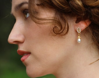 Veronica Earrings, Bridal Jewelry, Tear Drop Dangle Pearl Earrings, Romantic Style, Rustic Woodland, Wedding Accessory, Dainty, Gold Plated