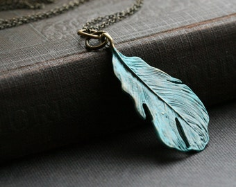 Leaf necklace in antiqued brass with a patina wash. Simple, minimalist leaf necklace, layering necklace, Boho necklace.