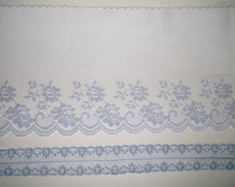 Vintage Sheer Lace Trim • periwinkle & lavender • yards • one is Extra Wide