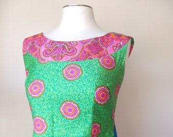 70s Floral Hawaiian Maxi Dress, Size XS/S