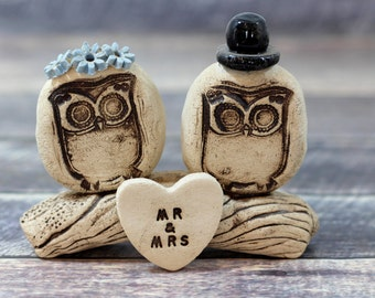 MR & MRS Owls cake topper Rustic bride and groom love birds cake topper