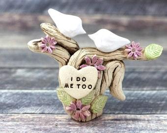 Dove wedding cake topper I DO ME TOO Ceramic Cake Topper  Love Birds rustic cake topper Wedding topper
