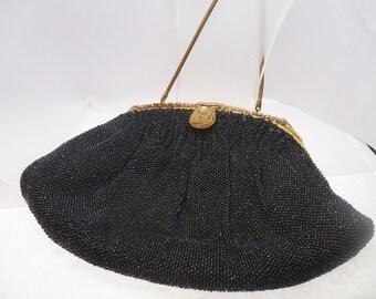 Tribout Paris Black Beaded Handbag French Vintage