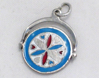spinner flip enamel dutch design travel theme sterling silver bracelet charm or necklace pendant women's fine jewelry