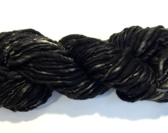 Handspun Yarn - Hand Dyed Yarn - Thick and Thin Bulky Yarn -  Merino Yarn - Dark Fog