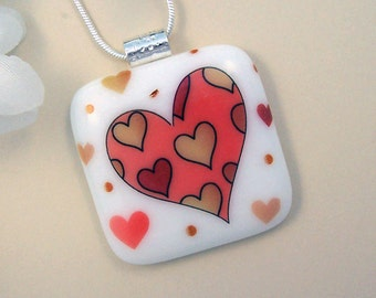 Scattered Hearts Fused Glass Pendant - Fused Jewelry - Fused Pendant & Necklace - 2-15