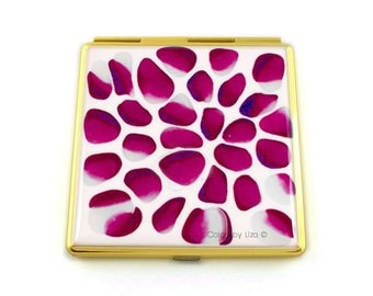 Square Compact Mirror Hand Painted in Magenta Blossom Inspired 2 Sided Pocket Mirror Custom Colors and Personalized Options
