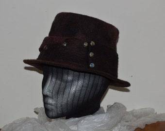 Black and burgundy blended merino wool wet felted top hat