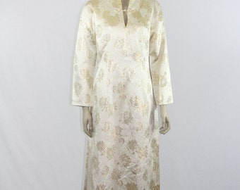 SALE.....1960's Vintage Ivory and Gold Brocade Dress / Robe - Asian Mandarin Collar Long Hostess Gown