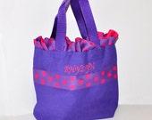 Purple Personalized Ruffle Bag with Name Embroidered on it, Ruffle Polka Dot Ribbon. Dance Bag, Swim bag, Princess Bag, Easter Basket Bag