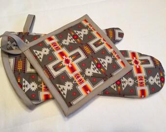 oven mitt & pot holder - olive native print
