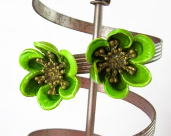 Bright Green Flower Earrings, Clip On Flower Earrings, Large Green Earrings, Plastic Flower Earrings - Hippie Jewelry - Lime Green Earrings