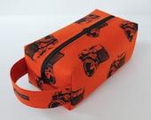 LARGE Sweater-sized Zippered Knitting Crochet Project Box Bag - Echino Retro Cameras in Orange