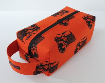 LARGE Sweater-sized Zippered Knitting Crochet Project Box Bag - Echino Retro Cameras in Orange