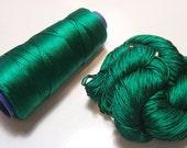 100% Pure Reeled Mulberry Silk Cobweb Lace Yarn 50 gram 470 Yard Skein Emerald Green 158 Lot B